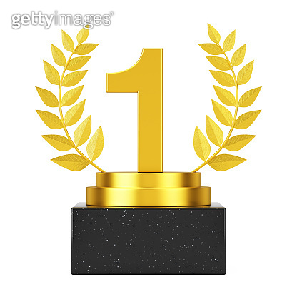 Winner Award Cube Gold Laurel Wreath Podium, Stage or Pedestal with Golden Number One or First Place. 3d Rendering