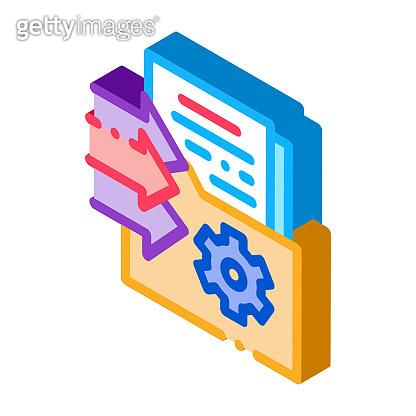 document adding in folder isometric icon vector illustration