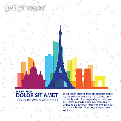 France travel skyline city silhouettes vector illustration