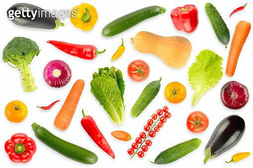 Top view on collection of fresh vegetables and fruits