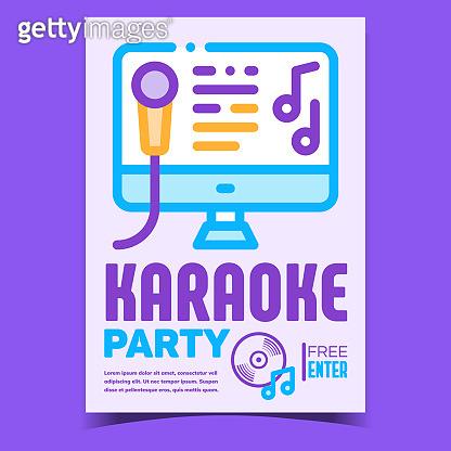 Karaoke Party Creative Promotional Poster Vector