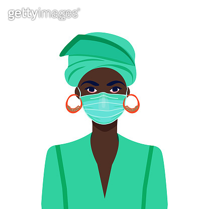 Black life matters. African american girl in the mask. COVID-19 conceptual vector illustration.