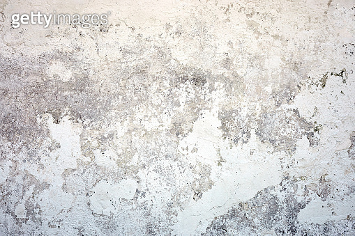 White texture concrete wall. Painted fade background with grey solid floor grain. Rough and dirty surface.