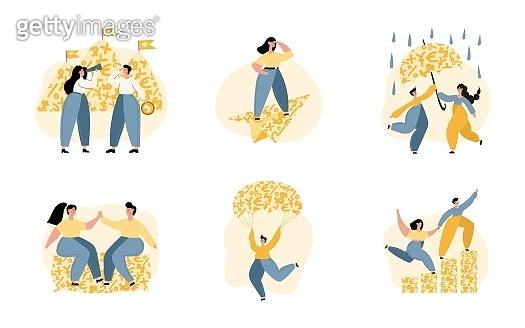 Personal finance management illustration set