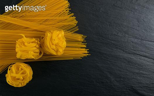 Raw Yellow Italian Pasta Fettuccine, Fettuccelle or Tagliatelle