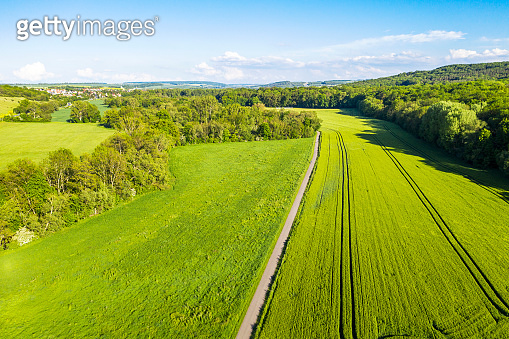 Aerial view of Agriculture fields and Landscape in Germany