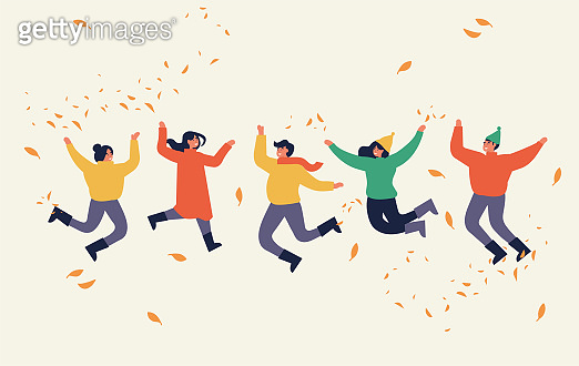 Happy autumn season. Warmly dressed people are jumping. Fall weather. Vector illustration in a flat style.