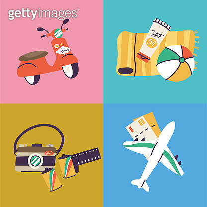 Vector illustrations of different travel, vacation or holiday signs and logos. Collection icons of summer vacation trip.