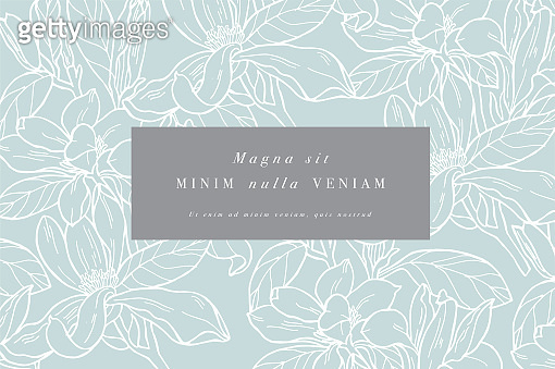 Vintage card with magnolia flowers. Floral wreath. Flower frame for flowershop with label designs. Summer floral magnolia greeting card. Flowers background for cosmetics packaging.
