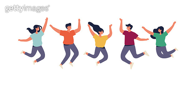 Happy group of people are jumping. Young people are celebrating together. Vector illustration in a flat style.