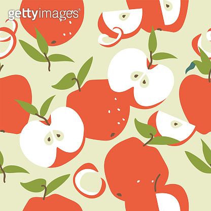 Vector illustration seamless pattern with red apples. Colorful summer wallpaper. Apples fruits collection.