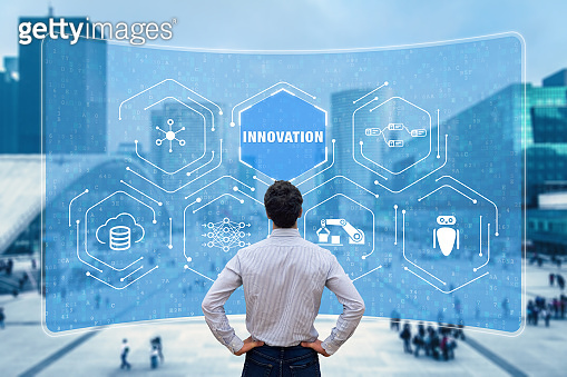 Innovation concept with researcher working on emerging technologies to develop innovative products. Digital disruption with IoT, robotic process automation, big data and artificial intelligence