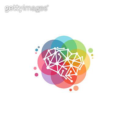 Colorful Robot Brain logo vector, Brain Tech logo designs template, design concept, logo, logotype element for template