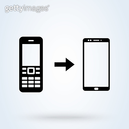 Mobile phone evolution. Concept of the evolution of a mobile phone from an old button cell phone to a modern smartphone. Phones evolution, vector. Simple modern icon design illustration.