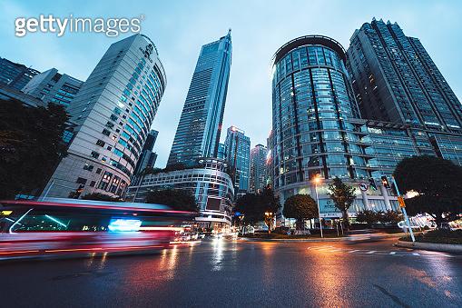 Downtown Chongqing, China at dusk