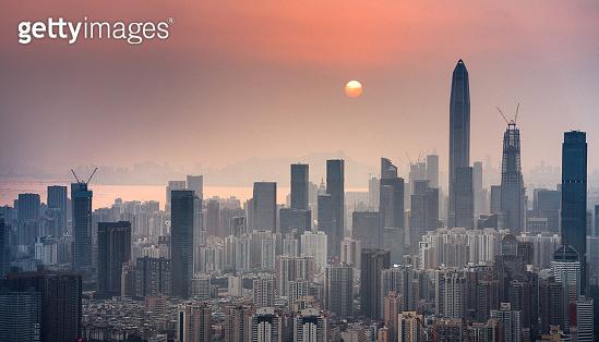 Shenzhen, China at dusk
