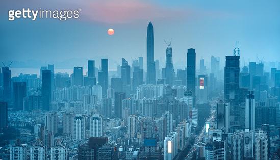Skyline of Shenzhen, China at dusk