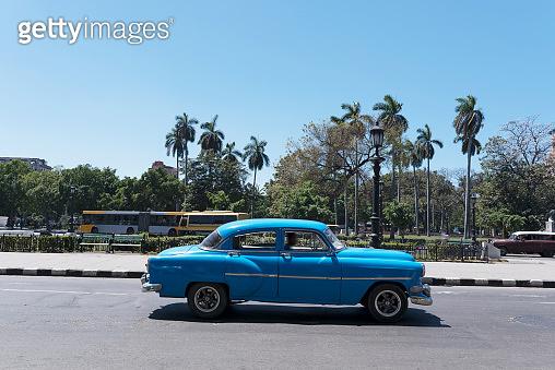 Blue American car on Havana street, Cuba