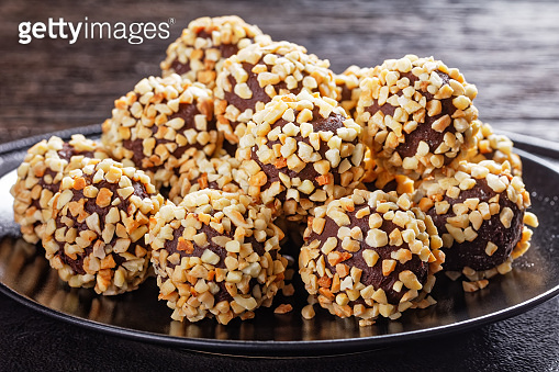 French dark chocolate truffles coated with crushed almonds