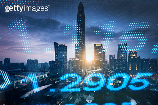 stock market numbers and financial district background
