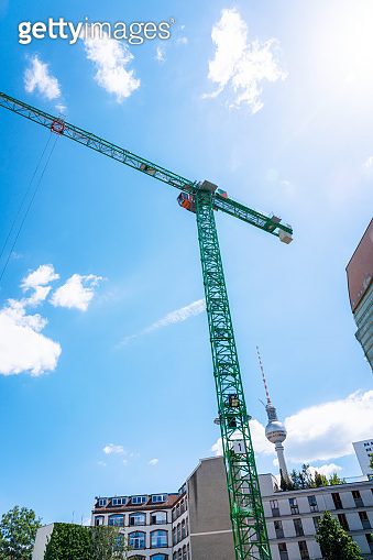 Berlin TV tower with cranes -  Construction Site