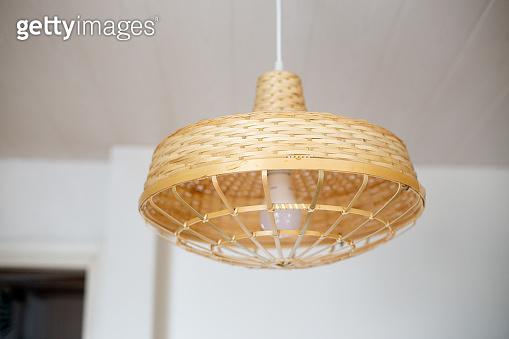 Natural coloured woven Bamboo pendant lamp