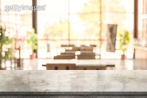 3D rendering, Empty Marble table top with light bokeh on blurred restaurant background