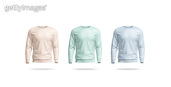 Blank colored casual sweatshirt mockup set, front view