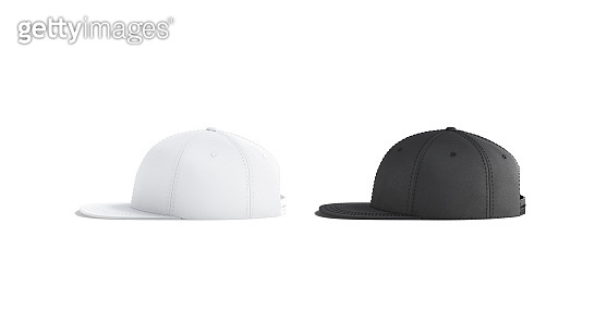 Blank black and white jeans snapback mockup set, side view