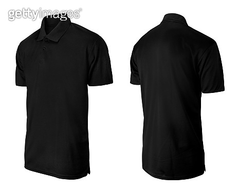 Black polo T-shirt design template isolated on white