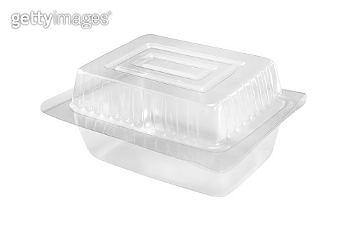 Empty transparent plastic food container isolated on white background with clipping path