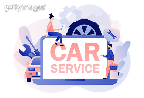 Car service and repair web site. Auto service concept. Tiny Repairman, Mechanics characters in uniform with tools and tire. Modern flat cartoon style. Vector illustration on white background