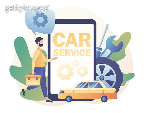 Car service and repair app. Auto service concept. Tiny Repairman, Mechanics characters in uniform with tools and tire. Modern flat cartoon style. Vector illustration on white background