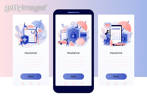 Insurance concept. Property and health insurance. Healthcare, finance and medical service. Screen template for mobile smart phone. Modern flat cartoon style. Vector illustration on white background
