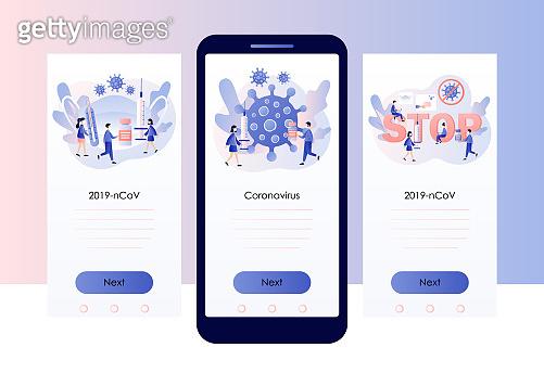 Coronavirus concept. Stop novel coronavirus (2019-nCoV). COVID-19 prevention. Tiny people in white medical face mask. Screen template for mobile smart phone. Modern flat cartoon style. Vector