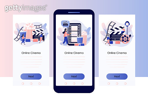 Online cinema consept. Mobile movie theater. Cinematography. Tiny people watching movie. Screen template for mobile smart phone. Modern flat cartoon style. Vector illustration