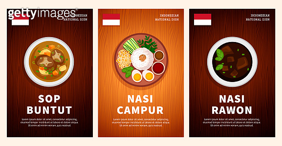 Indonesian cuisine, traditional food, national dishes on a wooden table. Sop Buntut, Nasi Campur, Nasi Rawon.