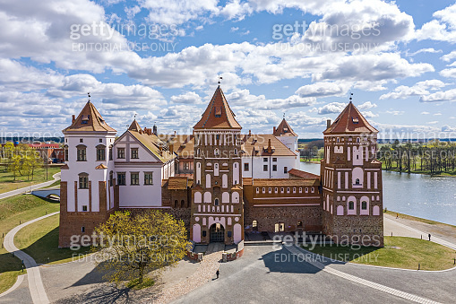 Beautiful view of medieval Mir castle on sunny spring day. Aerial photography.