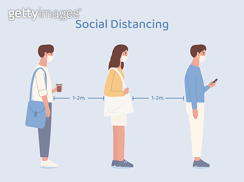 People wearing a mask doing social distancing while standing in queue in a community. Illustration about way to prevent virus spread in public place.
