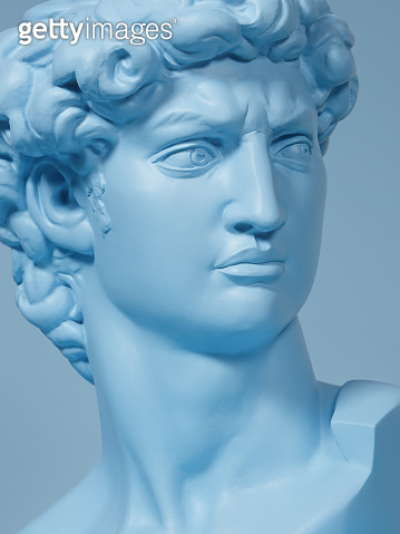 Blue colored Michelangelo's David