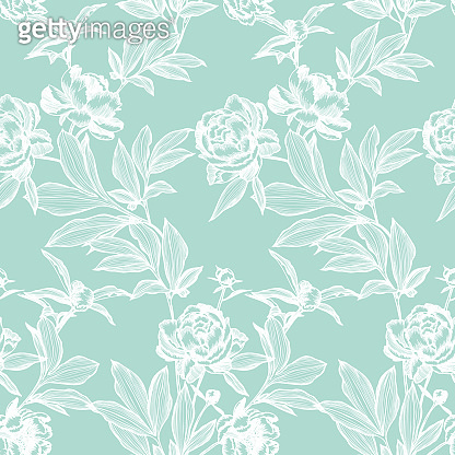Floral seamless pattern made of elegant flowers. Outline detailed sketch line drawing.