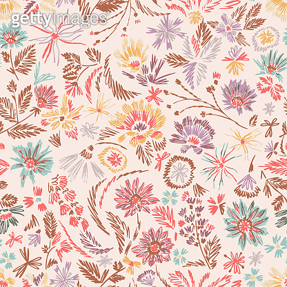 Cartoon botanical seamless pattern. Fun abstractive plants ornament. Graphic pencil line sketch drawing. Flowers, herbs and leaves. Summer fashion design