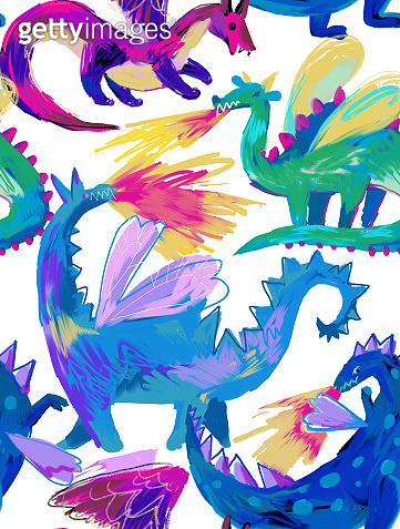Animal seamless pattern with dragons. Background for kids and child