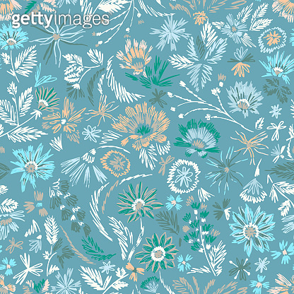 Cartoon botanical seamless pattern. Fun abstractive plants ornament. Graphic pencil line sketch drawing. Flowers, herbs and leaves. Summer fashion design for textile, fabric, clothes and wrapping.