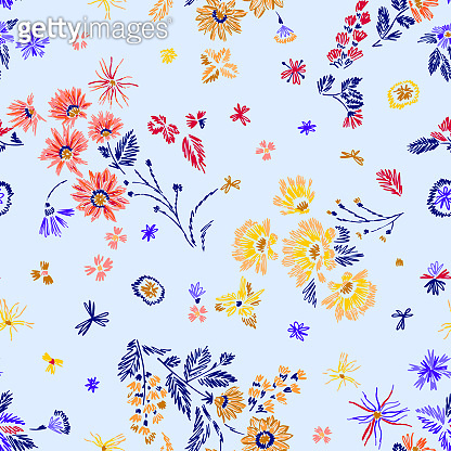 Simple botanical seamless pattern. Cute abstractive plants ornament. Graphic pencil line sketch drawing. Flowers, herbs and leaves. Summer fashion design for textile, fabric, clothes and wrapping.