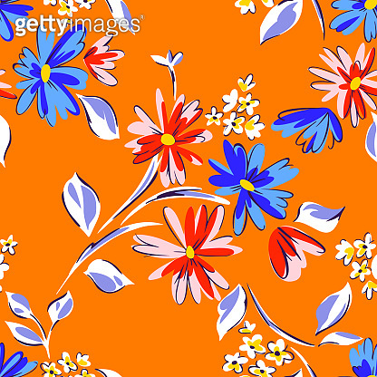 Seamless pattern with daisies. Mixed small and large blooming flower heads ornament. Bright summer botanical background in modern flat design.