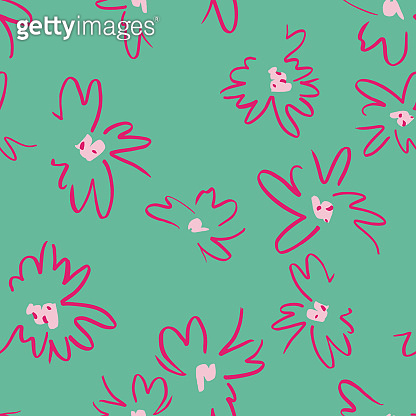 Vector floral seamless pattern with daisies