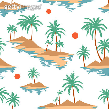 Vintage seamless island pattern. Colorful summer tropical background. Landscape with palm trees, beach and ocean
