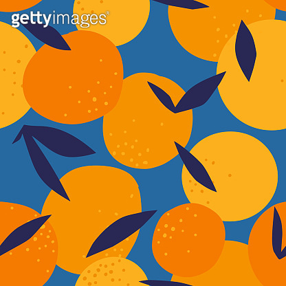 Floral Fruit seamless pattern made of oranges with leaves