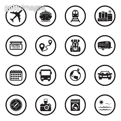 Travel Icons. Set 2. Black Flat Design In Circle. Vector Illustration.